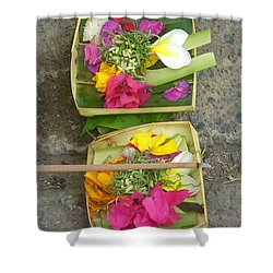 Balinese Offering Baskets Shower Curtain by Mark Sellers