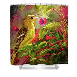 Baltimore Oriole Art- Baltimore Female Oriole Art Shower Curtain by Lourry Legarde