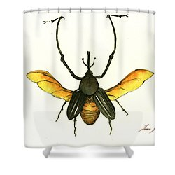 Bamboo Beetle Shower Curtain by Juan Bosco