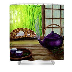 Bamboo Morning Tea Shower Curtain by Laura Iverson