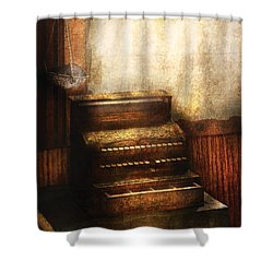 Banker - An Old Cash Register Shower Curtain by Mike Savad