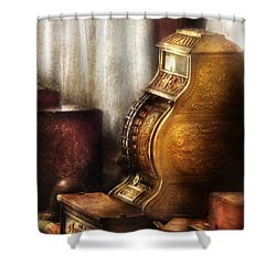 Banker - Brass Cash Register  Shower Curtain by Mike Savad