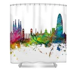 Barcelona Spain Skyline Panoramic Shower Curtain by Michael Tompsett