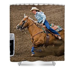 Barrel Racing Shower Curtain by Louise Heusinkveld