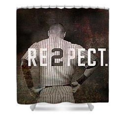 Baseball - Derek Jeter Shower Curtain by Joann Vitali