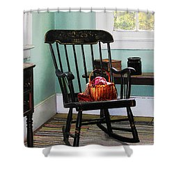 Basket Of Yarn On Rocking Chair Shower Curtain by Susan Savad