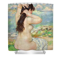 Bather Arranging Her Hair Shower Curtain by Pierre Auguste Renoir