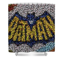 Batman Bottle Cap Mosaic Shower Curtain by Paul Van Scott