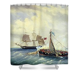 Battle Between The Russian Ship Opyt And A British Frigate Off The Coast Of Nargen Island  Shower Curtain by Leonid Demyanovich Blinov