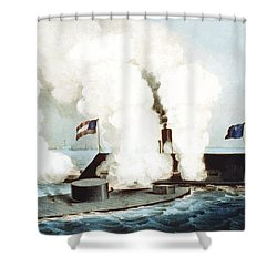 Battle Of The Monitor And Merrimack Shower Curtain by War Is Hell Store