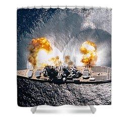 Battleship Iowa Firing All Guns Shower Curtain by Stocktrek Images