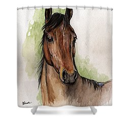 Bay Horse Portrait Watercolor Painting 02 2013 Shower Curtain by Angel  Tarantella