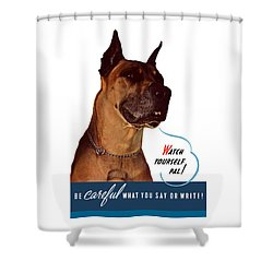 Be Careful What You Say Or Write Shower Curtain by War Is Hell Store