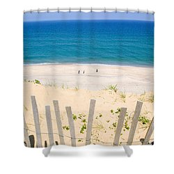 beach fence and ocean Cape Cod Shower Curtain by Matt Suess