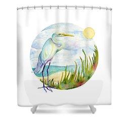 Beach Heron Shower Curtain by Amy Kirkpatrick