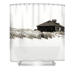 Beach House - Jersey Shore Shower Curtain by Angie Tirado