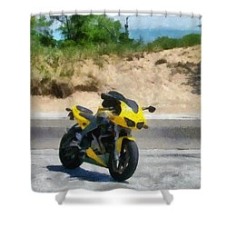 Beach Road Buell Shower Curtain by Michelle Calkins
