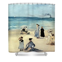 Beach Scene Shower Curtain by Edouard Manet