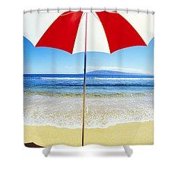 Beach Umbrella Shower Curtain by Carl Shaneff - Printscapes
