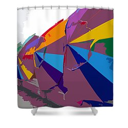 Beach Umbrella Row Shower Curtain by David Lee Thompson