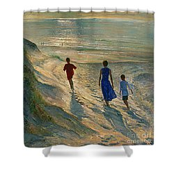 Beach Walk Shower Curtain by Timothy Easton
