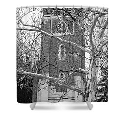 Beaumont Tower Spring 2016 Black And White  Shower Curtain by John McGraw