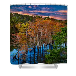 Beavers Bend Twilight Shower Curtain by Inge Johnsson