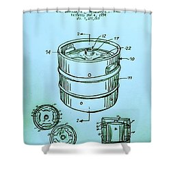 Beer Keg 1994 Patent - Blue Shower Curtain by Scott D Van Osdol
