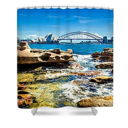 Behind The Rocks Shower Curtain by Az Jackson