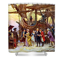 Ben Franklin Returns To Philadelphia Shower Curtain by War Is Hell Store