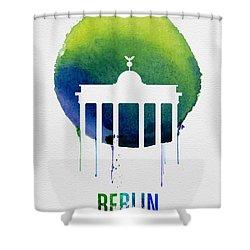 Berlin Landmark Blue Shower Curtain by Naxart Studio