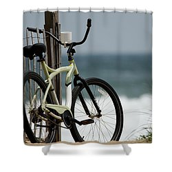 Bicycle On The Beach Shower Curtain by Julie Niemela