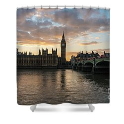 Big Ben London Sunset Shower Curtain by Mike Reid