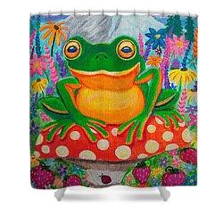 Big Green Frog On Red Mushroom Shower Curtain by Nick Gustafson