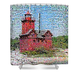 Big Red Photomosaic Shower Curtain by Michelle Calkins