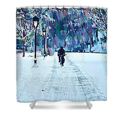 Bike Riding In The Snow Shower Curtain by Bill Cannon