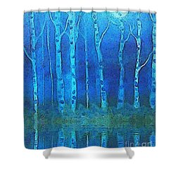 Birches In Moonlight Shower Curtain by Holly Martinson