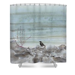 Bird On The Shore Shower Curtain by Carolyn Doe