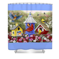 Bird Painting - Primary Colors Shower Curtain by Crista Forest