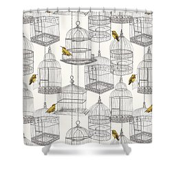 Birdcages Shower Curtain by Stephanie Davies