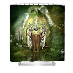 Birth Of A Swan Shower Curtain by Carol Cavalaris