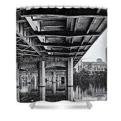 Black And White Panorama Of Downtown Austin Skyline Under The Bridge - Austin Texas  Shower Curtain by Silvio Ligutti