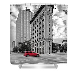 Black And White Photograph Of The Flatiron Building In Downtown Fort Worth - Texas Shower Curtain by Silvio Ligutti