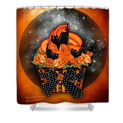 Black Cat Cupcake Shower Curtain by Carol Cavalaris