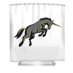 Black Unicorn Horse Charging Isolated Retro Shower Curtain by Aloysius Patrimonio