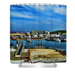 Block Island Marina Shower Curtain by Lourry Legarde