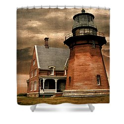 Block Island Southeast Light Shower Curtain by Lourry Legarde