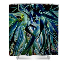 Blue Abstract Art Lorx Shower Curtain by Rebecca Margraf