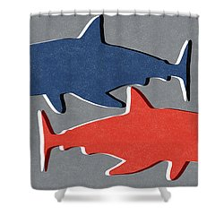 Blue And Red Sharks Shower Curtain by Linda Woods
