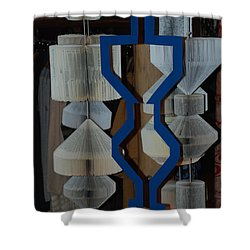 Blue And White Shower Curtain by Rob Hans